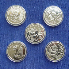 Panda Silver Coin 10 Yuan 1oz Chinese 5pcs 1991-1995 Year Commemorative Coins