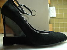 CASADEI SEXY BLACK SUEDE ANKSTRP WEDGES TRANSPARENT HEEL  ITALY SIZE 9
