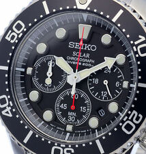 NEW MENS SEIKO SOLAR POWERED CHRONOGRAPH 200M AIR DIVERS SPORTS WATCH SSC015P1