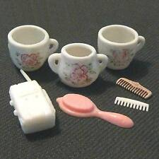 3 china 4 plastic doll house dishes, comb, etc antique B23