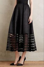 Sachin and Babi Anthropologie Lace Hem Ball Skirt Black Jacquard Dot Sz 2