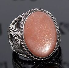 Silver Ring Peach Moonstone Sterling 925 Mens Jewelry unique handcrafted