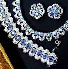VTG CORO AB BLUE CRYSTAL RHINESTONE EGYPTIAN NECKLACE WIDE BRACELET EARRINGS
