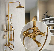 Luxury Antique Brass Wall Mounted Shower Faucet Set Tub Mixer Tap W/ Bath Shelf