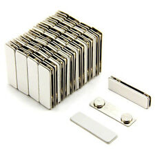 Strong Magnetic Name Badge ID Holder w/ Metal Fastener (100 Pack) (Silver)