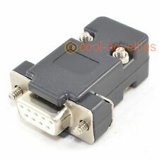 DB9 9 WAY D SUB FEMALE SOCKET CONNECTOR WITH BLACK HOOD/SHELL