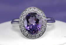 2.48 CT Total Weight Genuine Oval Amethyst Haloed by Diamonds - 10KT White Gold