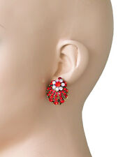 """1"""" Long Shell Shape Post Earrings, Red & Aurora Borealis Crystals, Pageant"""