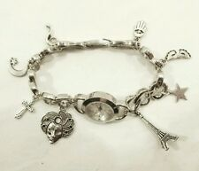 NEXT customised woman charm bracelet bangle watch antique silver plated FREEP&P