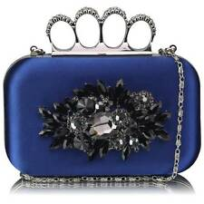 CLUTCH hand BAG diamante 178 WEDDING with chain knuckle rings jeweled navy
