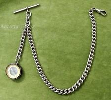 Victorian Solid Silver Graduated Fob Pocket Watch Albert Chain & Compass Fob