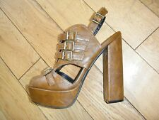 *KC* GORGEOUS BROWN LEATHER GLADIATOR CUT OUT BUCKLE CHUNKY HEELS SHOES HOLIDAYS