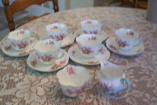 "Shelley - ""Blossom"" 6 Teacup and Saucer Set , Cream, Sugar - Pattern #13429"