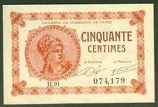 NECESSITE 50 CENTIMES CHAMBRE de COMMERCE de PARIS  ETAT: SPL lot 753