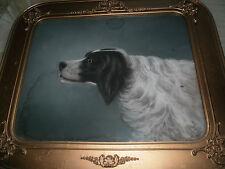 Antique painting of pointer dog, signed, original frame, original antique glass
