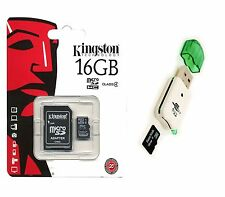 Kingston 16GB MicroSDHC Micro SD SDHC TF Flash Memory Card 16G + USB Card Reader