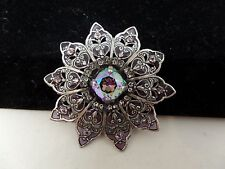 CATHERINE POPESCO FRANCE Enamel & Tourmaline Crystal Filigree Brooch! Gorgeous!