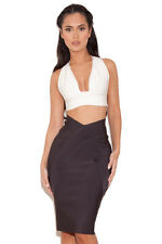 """HOUSE OF CB 'Roanne' Charcoal Grey Bandage Waistband Skirt """"Faulty"""" MM 10043"""