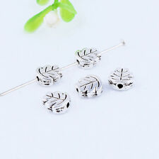 30PCS Tibetan Silver Leaf Spacer Beads Loose Charm Jewelry DIY Finding 7.5x3mm