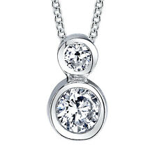 "Sterling Silver CZ Solitaire Pendant Necklace Including 18"" Chain Cubic Zirconia"
