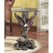 DRAMATIC EAGLE  ACCENT END SIDE TABLE TEMPERED GLASS TOP DECOR~33699