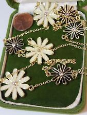 Long Black Off White Enamel Daisy Flower Link Rhinestone Chain Necklace 6c 47