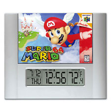 Super Mario 64 video game box art Digital Wall Desk Clock temperature + alarm