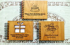 BIRTHDAY GUEST BOOK CUSTOM ENGRAVED RUSTIC WOOD COVER 21ST PARTY DECOR NEW SMALL