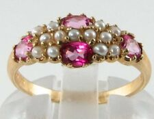 LUSH 9K/CT VICT  PINK TOPAZ  & MILKY SEED PEARL RING