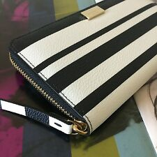 Kate Spade NY Black White Arbour Hill Printed Neda Zip Around Continental Wallet