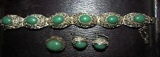 antique chinese jade & sterling silver filigree bracelet pin & earrings set