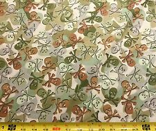 Cotton Camo Skulls Green Camouflage Cotton Fabric Print by the Yard aeh-71851