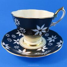 Royal Albert White Flowers on Black Tea Cup and Saucer Set