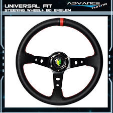 Universal Black 350MM PVC Leather Steering Wheel Red Deep Dish Horn Button