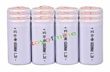 12 x Sub C SubC With Tab 6000mAh 1.2V Ni-MH White Color Rechargeable Battery USA