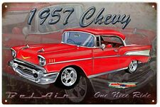 1957 Chevy Hot Rod Sign Garage Art