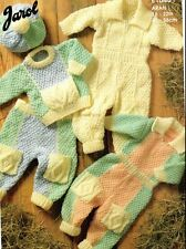 """Set of 3 Baby All In One Suits Vintage Aran Knitting Pattern 26"""" - 22"""""""