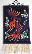 Vintage Swedish Scandinavian Wool Antique Wall Hanging Hand Made Tapestry Birds