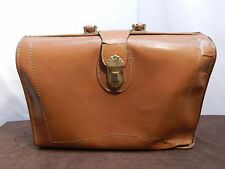 Vintage Brown Leather Handled Briefcase/ Doctor's Bag w/ Dividers; Unknown Maker
