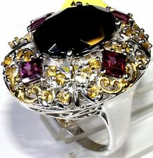 Thai Black Spinel, Garnet, Citrine Ring (Size 8) Platinum Silver TGW 15.44 Cts