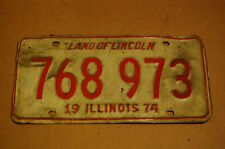 Illinois 1974 License Plate 768973 White and Red