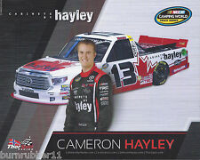 "2016 CAMERON HAYLEY ""CABINETS BY HAYLEY ARMS BY SIDE"" #13 NASCAR CWTS POSTCARD"