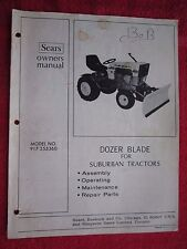 SEARS SS/16 GARDEN TRACTOR DOZER BLADE OPERATORS - MAINTENANCE - PARTS MANUAL