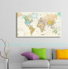 60X100cm Large World Map Framed Stretched Canvas Prints Wall Decals Office Decor