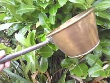 OLD VINTAGE BRASS COOKING SAUCEPAN PAN HEAVY CAST IRON HANDLE FOR COOKING RANGE