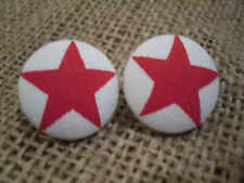 HAND-MADE,red star button earrings! Allergy safe! 22mm size!