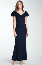 NWOT black  Daymor Ruffle Neckline Flared Gown  NO STOLE  size 16