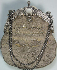 French Evening Bag Metallic Embroidery Silver Mounts and Chain SPINGARN PARIS