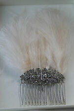 Gatsby Diamanté and Feathers Hair Comb. Wedding. New. Handmade. Vintage.