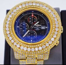 34 Carats Diamond Breitling Super Avenger 2 Watch A13371 14k Gold Plated ASAAR